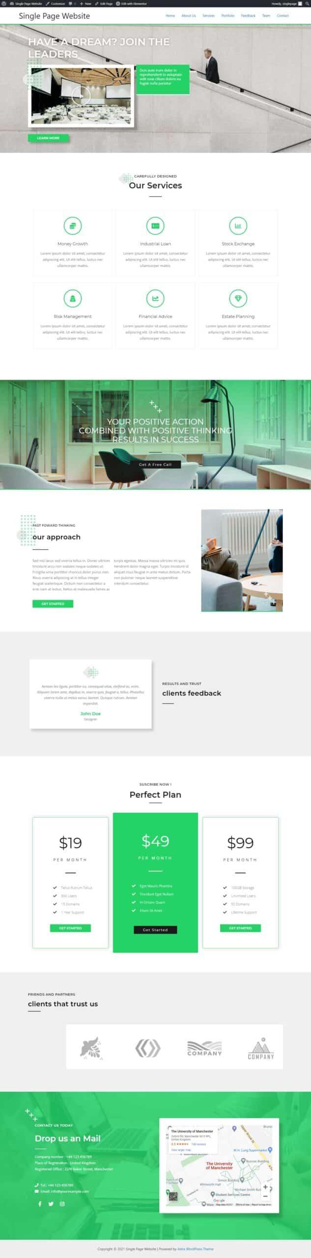 single page wordpress website, one page website WordPress, single page scrolling website, website template