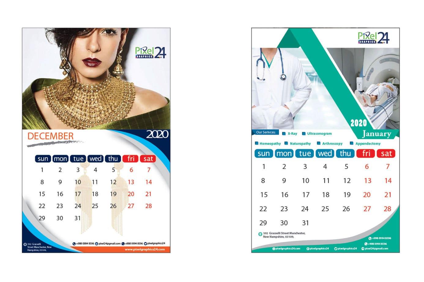 Calendar design, creative calendar design, print media services, graphics design services, it solution park